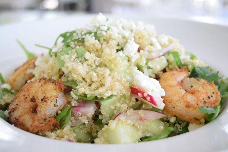 Lemon-Garlic Shrimp and Quinoa Salad, cucumbers, tomatoes, red onion, radish, pea shoots, cilantro and feta, tossed with lemon-garlic vinaigrette   Green Valley Grill   Greensboro, NC