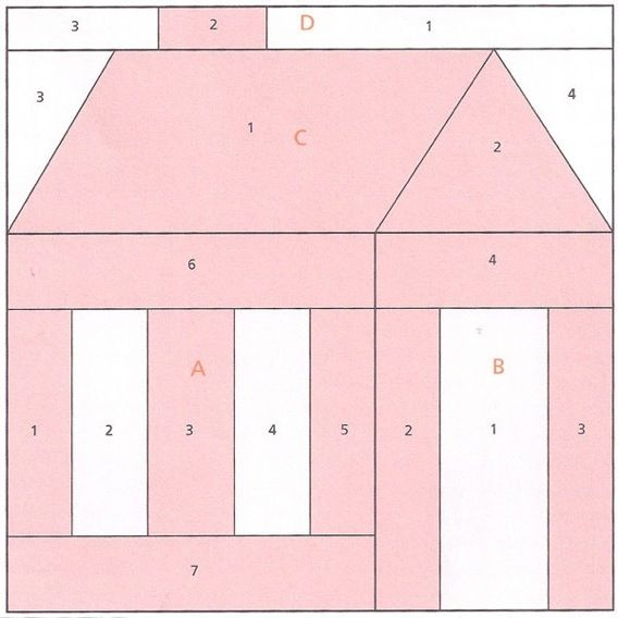 Free Quilt Patterns Of Houses : Pin by Mercedes Campos Alvarez on Patrones Pinterest