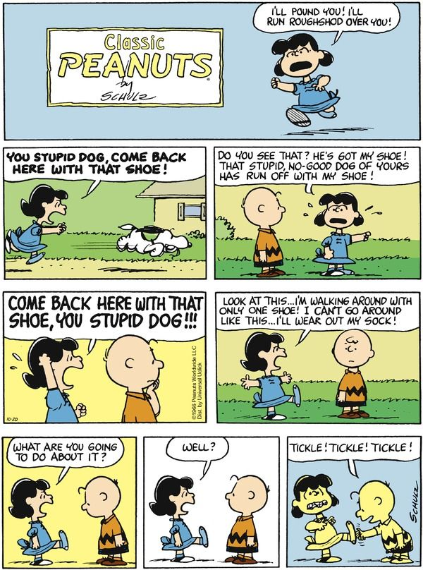 Peanuts Comic Strip, October 20, 2013 on GoComics.com (Hilarious. This is the one time that Charlie Brown got the upper hand on Lucy.)