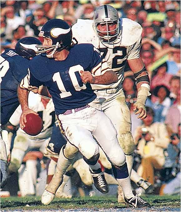 """Fran Tarkenton is a former professional football player and and one of the first """"scrambling"""" quarterbacks. He ranks fourth in career rushing yards among quarterbacks, behind Randall Cunningham, Steve Young and Michael Vick. He is also one of two NFL quarterbacks ever to rush for at least 300 yards in seven different seasons. he is a 9 x Pro Bowler, a 1975 league MVP and led the Vikes to 3 Super Bowls (losing them all)."""