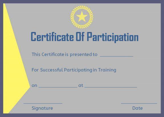 Training Participation Certificate Format Certificate Of Participation Template Certificate Templates Free Certificate Templates