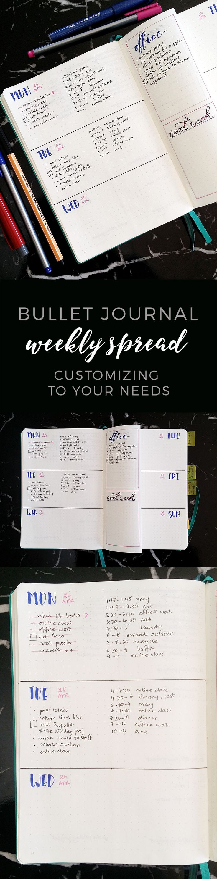 Bullet Journal Weekly Spread Setup http://productiveandpretty.com/bullet-journal-weekly-spread-setup/?utm_campaign=coschedule&utm_source=pinterest&utm_medium=Jen%20%2B%20Liz%20%7C%20Productive%20and%20Pretty&utm_content=Bullet%20Journal%20Weekly%20Spread%20Setup