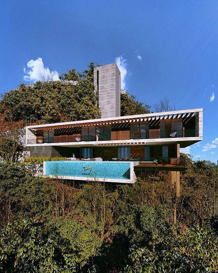 "Amazing Architecture on Instagram: ""Casa Vistas del Ángel Diseño ARQUITECTUM Vía : @uli.arquitecto #mexico #infinitypool #archiviz #3dmax www.amazingarchitecture.com ✔️…"""
