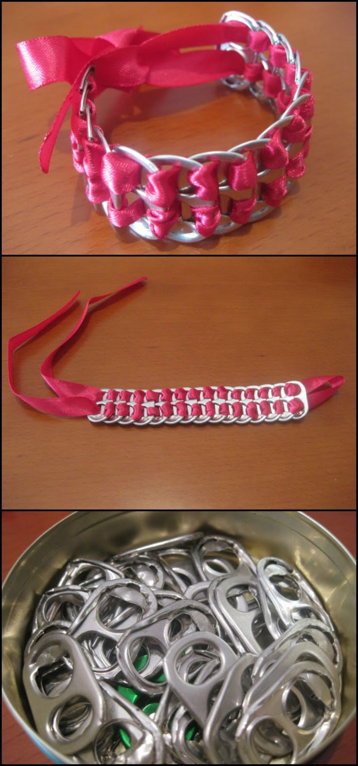 How To Make A Bracelet From Soda Pop Tabs  http://theownerbuildernetwork.co/py3s  With just a little resourcefulness and creativity, you can make some pretty accessories for you and your daughter.