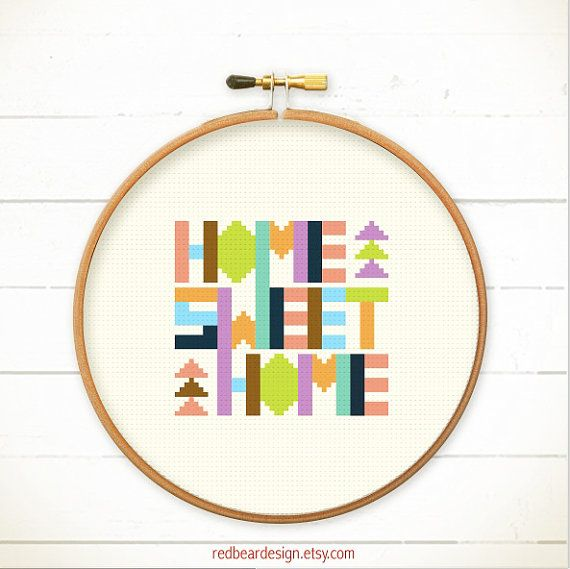 Modern Geometric Cross stitch pattern PDF - Home Sweet Home - Xstitch Instant download - Fun Colorful Happy typographic Less is more simple