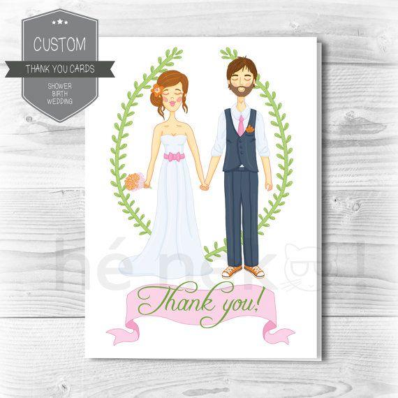 Custom Thank you cards Shower Birth Wedding