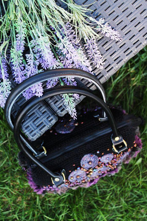 Black Purple Beaded Women's Purse Medium Crochet Leither