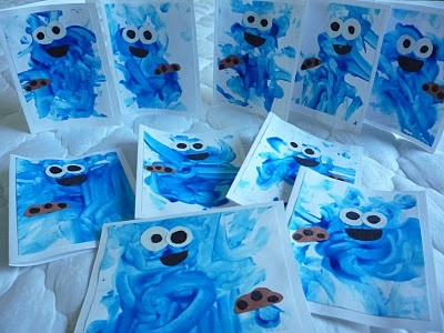 Crafty Mama: Cookie Monster Thank You Cards -- what a cute idea!!