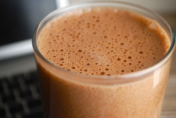Hot Chocolate Protein Shake | Living on the edge with an EGG in there   | 12oz (1 1/2 cup) milk  |  1 large pastured egg  |  1 rounded scoop unsweetened vanilla or plain whey protein powder  | 2 tablespoons unsweetened cocoa powder  |  1/2 teaspoon vanilla extract 1 1/2 tablespoon raw honey or other sweetener of your choice ...see page for directions