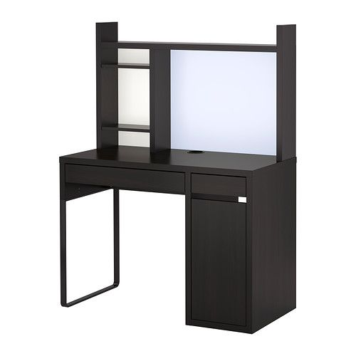MICKE Computer work station, black-brown black-brown 41 3/8x19 5/8   Living Room