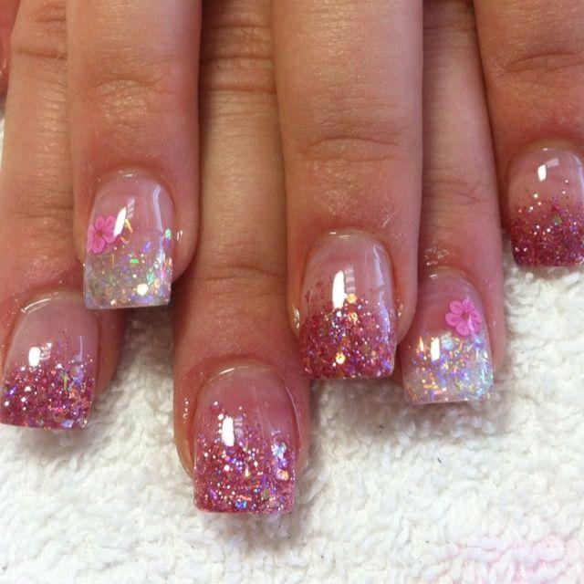 valentine Glitter Acrylic Nail Designs | Glitter acrylic