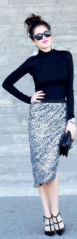 Sequins and a Turtleneck: Perfect Winter Party Outfit