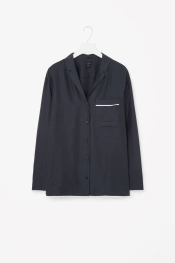 COS image 2 of Silk shirt with piping in Dark Navy