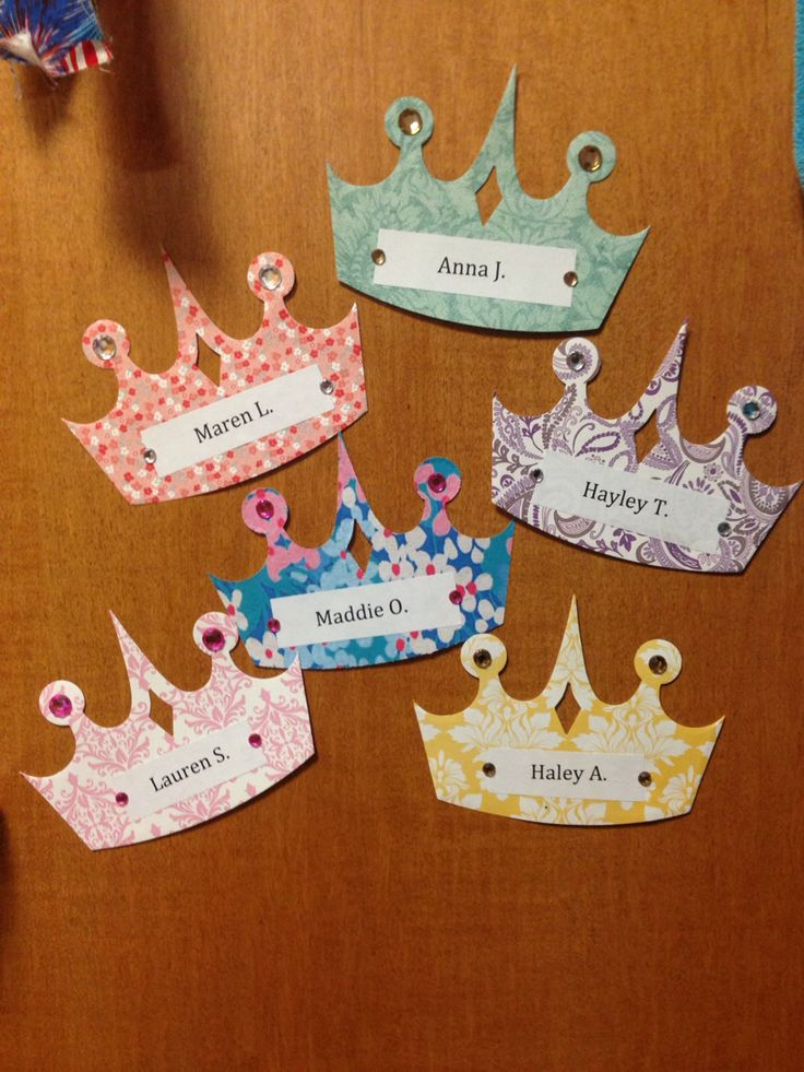 Second semester door dec name tags for my girl residents at jmu! I used scrapbook paper and the princess crown Ellison punch as well as jewels to make them beautiful