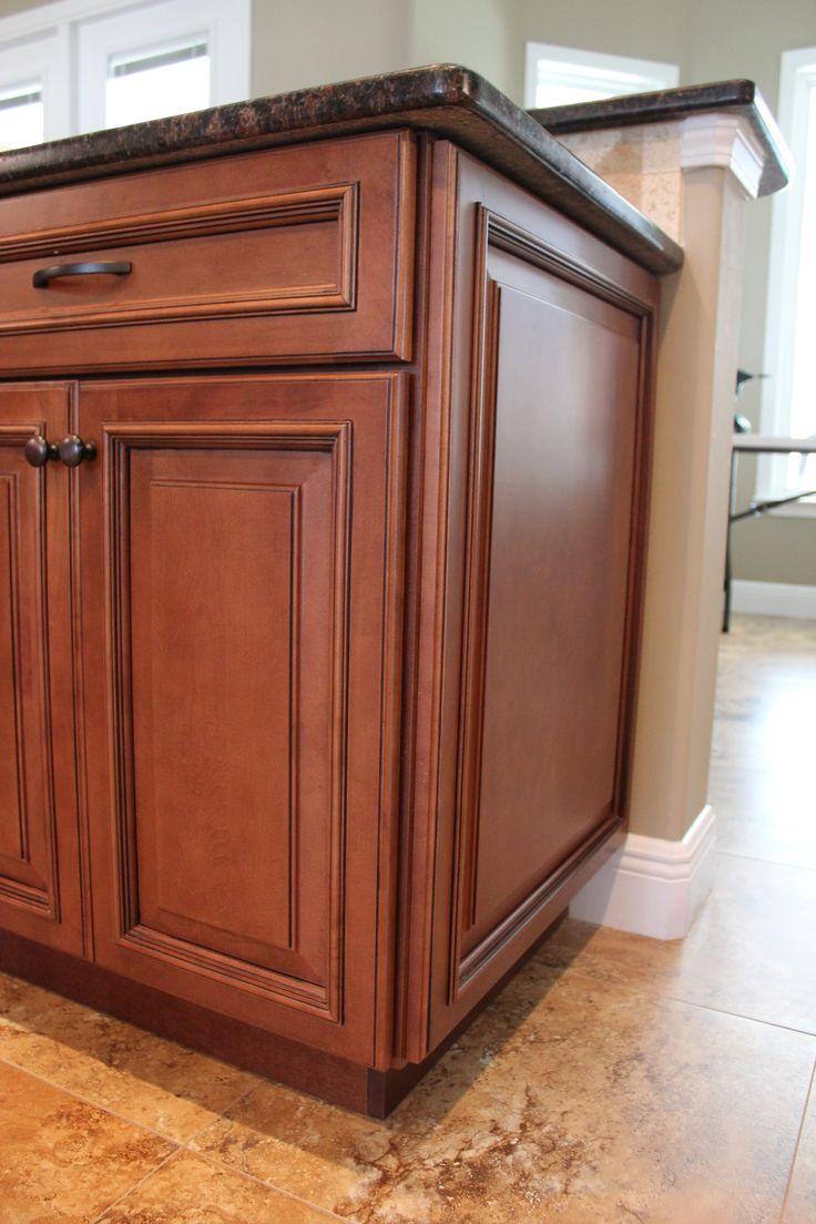 Fabuwood wellington cinnamon glaze wainscot panel for Cinnamon colored kitchen cabinets