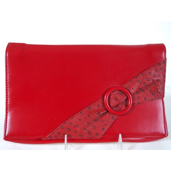Vintage 1980's Red Clutch Purse with Detachable Strap (870 PHP) ❤ liked on Polyvore featuring bags, handbags, clutches, red clutches, red handbags, vintage handbags, vintage purses and vintage clutches