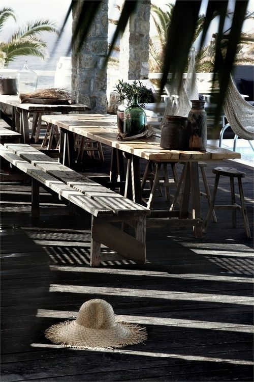 Outdoor entertainment area. Patio garden bench n table
