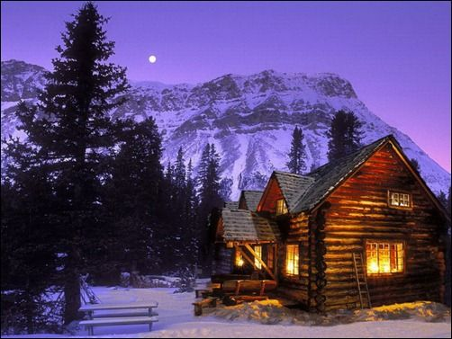 Snow Cabin in the Woods | Lighted cabins during a winter night have always been a favorite ...