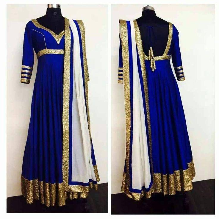 PAKISTANI ANARKALI KAFTAN INDIAN BOLLYWOOD EMBROIDERY WEDDING BLUE GOLD SALWAR #DESIGNER #SalwarKameez