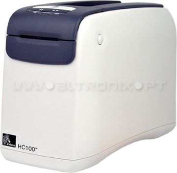 Impressora Fitas de Pulso HC100 Para identificar pacientes, a inovadora Zebra HC100 combina cartuchos fáceis de utilizar, com fitas de pulso resistentes.