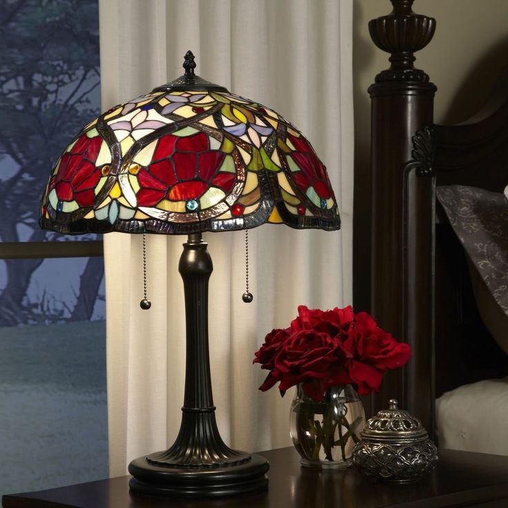 Table Lamp Multicoloured Glass Shade Metal Bronze Base Bedroom Living Room Decor