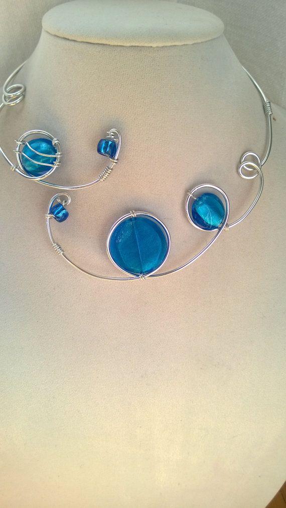 Fil d'aluminium collier  collier bleu d'Azur par LesBijouxLibellule