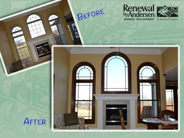 Arch Top Windows Before White Interior Arch Top Windows After Wood Trim And Stained Formal
