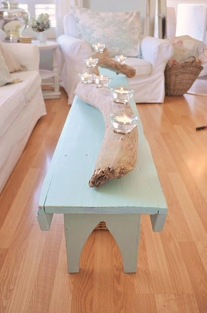Paint my current coffee table and add driftwood/candles!!