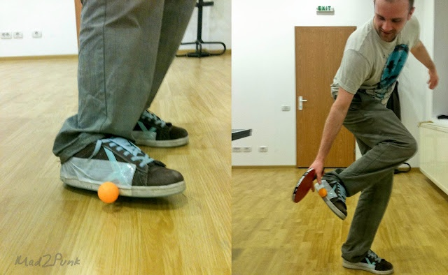Sticky shoes for ping-pong