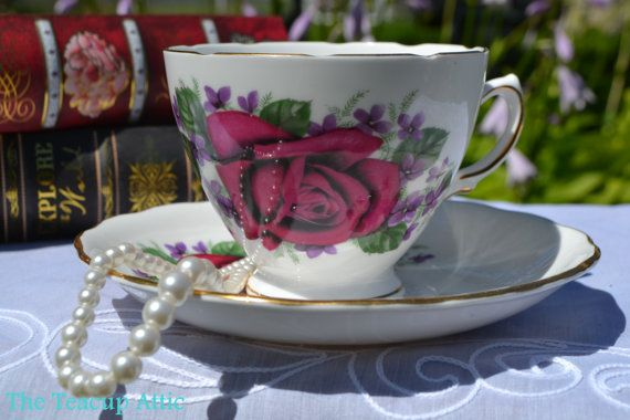 Royal Vale Teacup and Saucer Set With Large Red by TheTeacupAttic