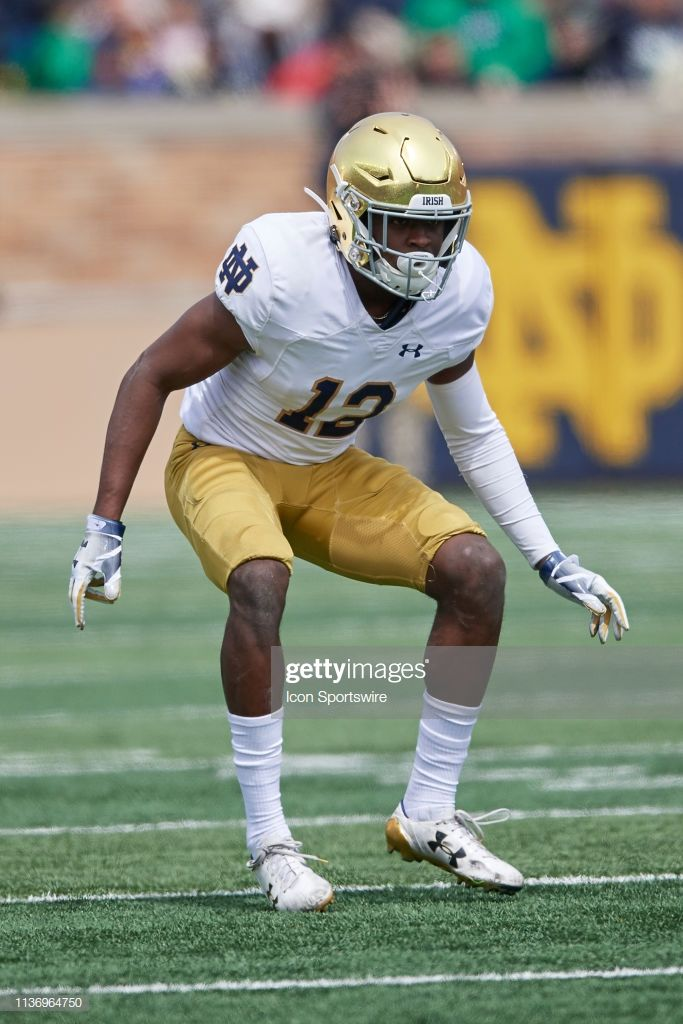 Notre Dame Fighting Irish Defensive Back Dj Brown Battles With In