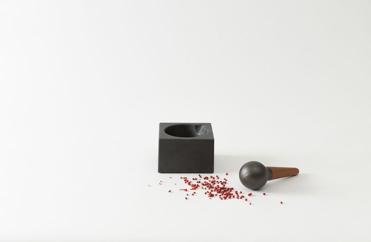 Skeppshult Cube Mortar and Pestle with Walnut Handle