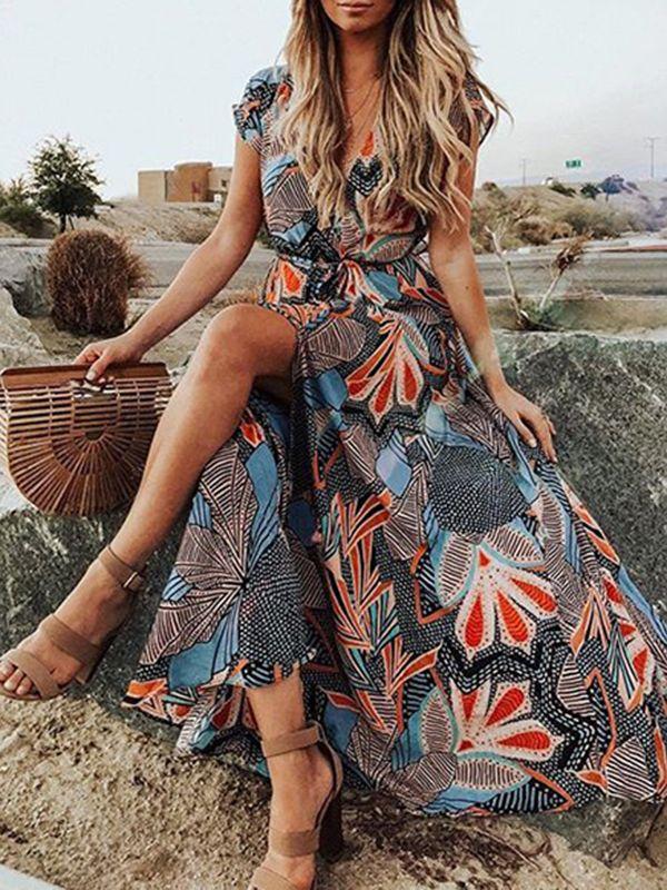 Women Boho V Neck Long Dress Ladies Summer Holiday Casual  Short Sleeve Sundress