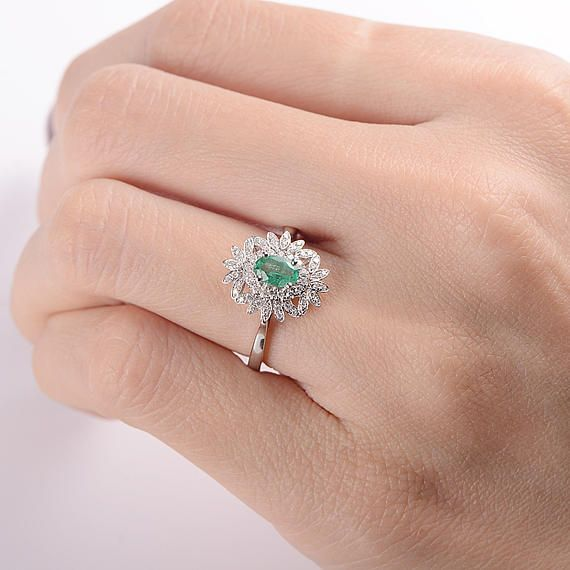Antique Emerald Ring Emerald Engagement Ring Oval Cut Vintage