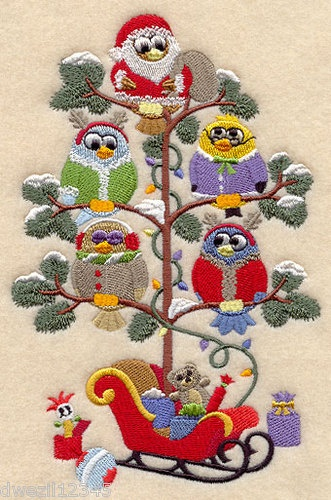 CHRISTMAS NORTH POLE TWEET BIRD TREE - 2 EMBROIDERED HAND TOWELS by Susan