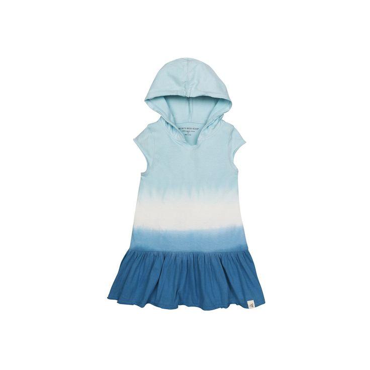 Toddler Girl Burt's Bees Baby Triple Dip Dye Hooded Dress, Size: 3T, Turquoise/Blue (Turq/Aqua)