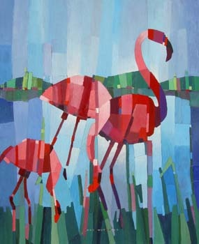 I thought these were quilts -- but they are paintings. Dutch artist Kees van de Wetering shows three wonderful small flamingo images at the click. Love the vertical fragmenting and the sense of light. Link goes to the artist's own website, with townscapes, tulips, and others