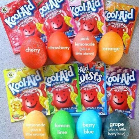 Instead of buying the expensive Easter egg dying kits, use Kool-aid! One packet of Kool-aid & 2/3 cups boiled hot water & not only do you have the most awesome egg dye that is cheaper than those other boxes of egg coloring dyes, but it also smells wonderful & the colors are MUCH MORE bright & vibrant! *When using the lemonade flavor, mix with a little bit of orange to get a better yellow color, or it'll be too light.