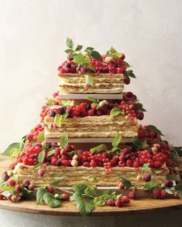 "Traditional Italian Wedding Cake-- ""millefoglie"" or ""thousand leaves"". Layers of sweet, flaky pastry dough filled with Chantilly cream topped with powdered sugar and fresh fruits. ^_^"