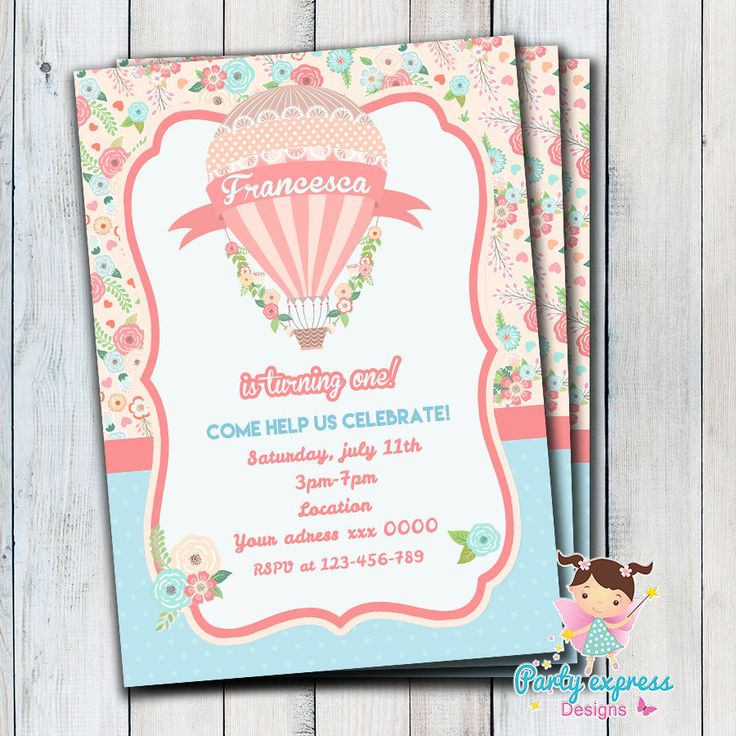 Invitación Hot air balloon Globo aerostatico Cumpleaños Digital de Partyexpressdesigns en Etsy