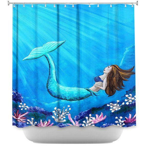 Mermaid shower curtain mermaid bathroom by ArtByChristinaDudycz, $89.99