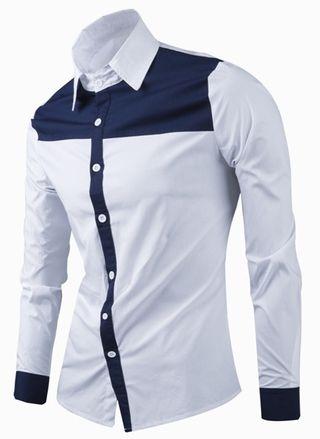 Camisa Casual Fashion en Dos Colores - Cuello Moderno - en Blanco y Azul