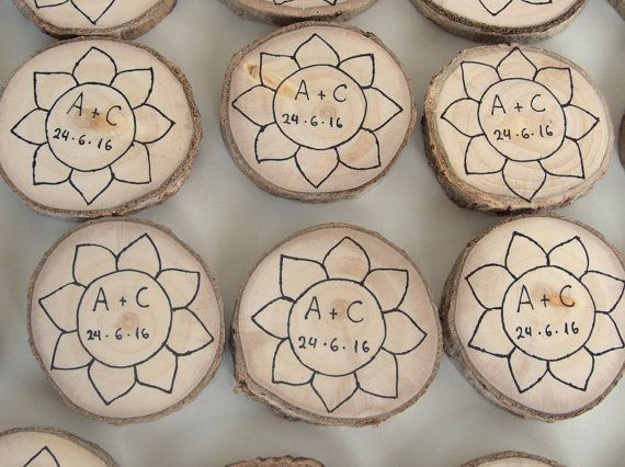 25 Wood Magnet Favors   Wood Slices Magnet Favors  Save The