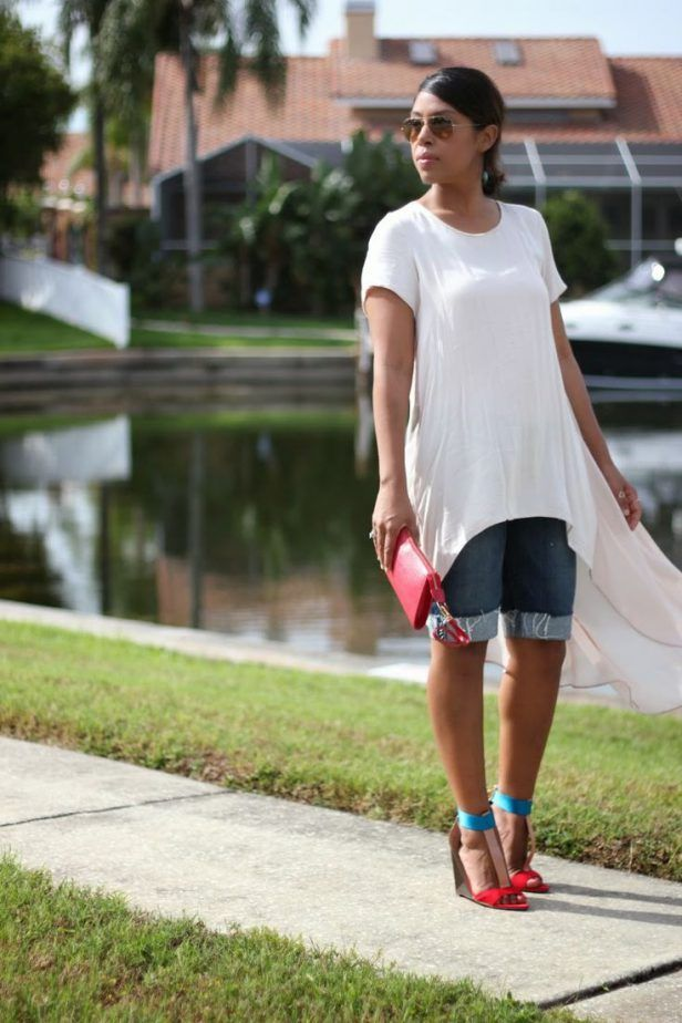 Denim Bermuda Shorts Outfit 2017 Street Style