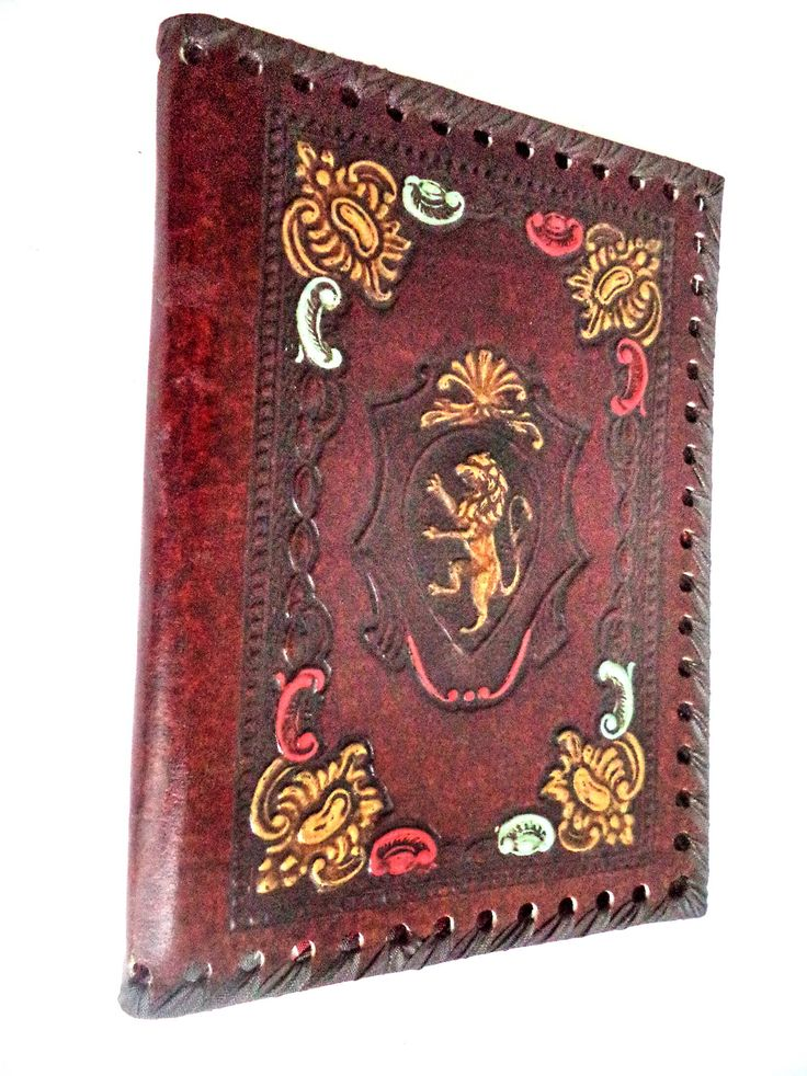 Luxurious Vintage Tooled Leather Italian Book Cover Royal Lion Diary Journal Bible Case Gilt Mahogany Brown Retro 50s Gift Made in Italy by MushkaVintage3 on Etsy
