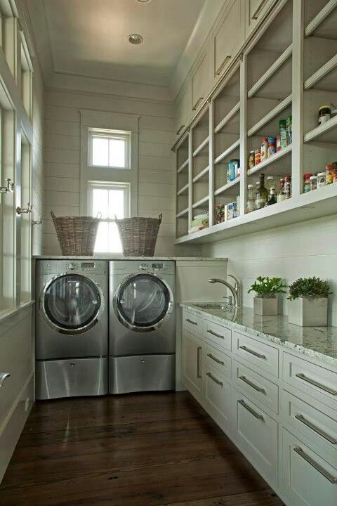 pantry/laundry room. Love this long space with all the storage!
