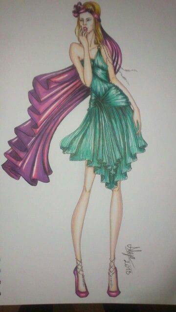 Figurin de Moda drapeados, técnica Mixta by alejalfonso