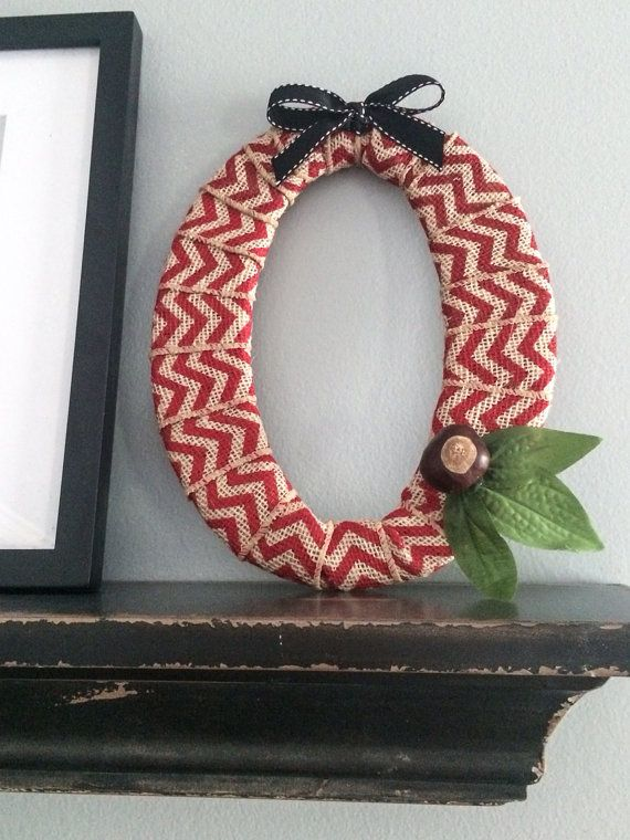 """8x10 Red Chevron Burlap """"O"""", Ohio State Decor with Silk Leaves and Real Buckeyes on Etsy, $18.00"""
