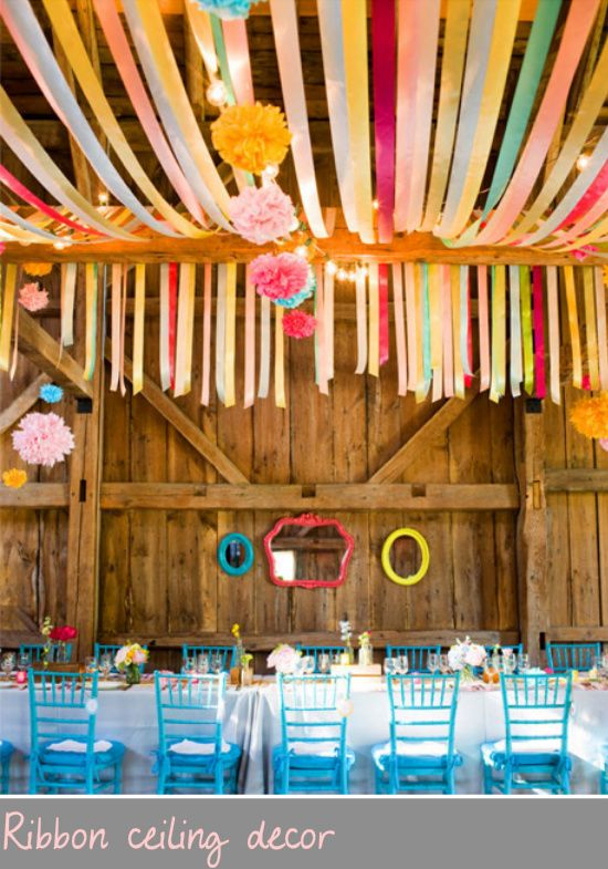 A ribbon draped ceiling. Yours would be done with softer colors, and fewer ribbons.