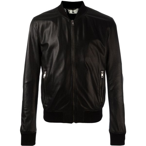 Dolce & Gabbana perforated leather bomber jacket (69,700 THB) ❤ liked on Polyvore featuring men's fashion, men's clothing, men's outerwear, men's jackets, black, mens leather bomber jacket, mens summer jackets, mens leather flight jacket, mens real leather jackets and mens bomber jacket